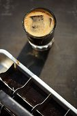 picture of ice-cubes  - espresso with ice cubes coffee and vintage ice cube tray - JPG