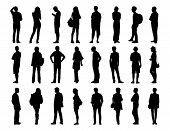 foto of ordinary woman  - big set of black silhouettes of men and women of different ages standing in different postures face profile and back views - JPG