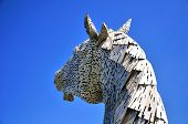 foto of horse head  - One steel structure of a horses head built next to the Forth  - JPG