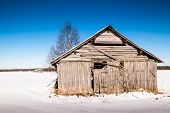 pic of barn house  - An old barn house bathing in the spring sun - JPG