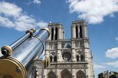 stock photo of notre dame  - Tourist binoculars at Notre - JPG