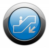 pic of escalator  - Icon Button Pictogram with Escalator Down symbol - JPG