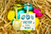 stock photo of egg-laying  - easter egg hunt graphic against easter eggs grouped together on straw - JPG
