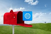 foto of postbox  - Red email postbox against field and sky - JPG