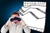picture of binoculars  - Positive businessman using binoculars against digitally generated grey background - JPG