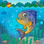 stock photo of piranha  - Piranha fish underwater theme 2  - JPG