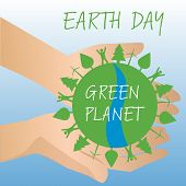 image of save earth  - Human hands holding Earth - JPG