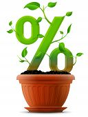 stock photo of bine  - Stylized plant in shape of percent sign in ground - JPG