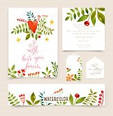 foto of greeting card design  - Floral Set with Watercolor Flowers for Summer or Spring Cards - JPG