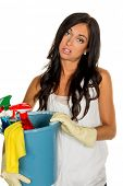 picture of cleaning agents  - a young woman is annoyed that she has to make the house cleaning - JPG