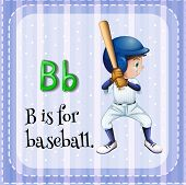 foto of letter b  - Flashcard letter B is for baseball - JPG