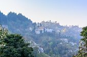 foto of darjeeling  - The view of hill station Darjeeling in fog - JPG