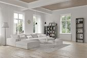 foto of comfort  - Modern loft living room interior with monochromatic white decor - JPG