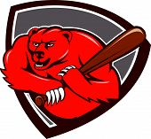 stock photo of baseball bat  - Illustration of a grizzly bear baseball player holding bat batting viewed from front set inside shield crest on isolated background done in cartoon style - JPG