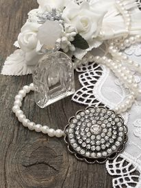 picture of brooch  - vintage fragrance bottle with brooch - JPG