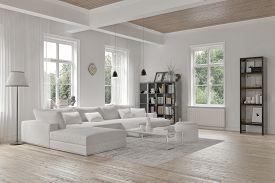 image of 3d  - Modern loft living room interior with monochromatic white decor - JPG