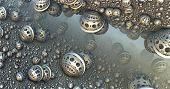 image of fantastic  - Background with fantastic 3D spheres - JPG
