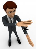 picture of killing  - 3d man about hit and kill bug with one hand concept on white background top angle view - JPG