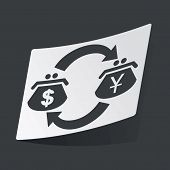 image of yen  - White sticker with exchange between black purses with dollar - JPG