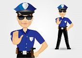 picture of policeman  - portrait of haughty policeman cop with sunglasses showing stop gesture isolated over white background - JPG