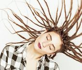image of dreadlock  - real caucasian woman with dreadlocks hairstyle funny cheerful faces on white background - JPG