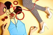 Set of stylish fashion clothes, womans slim legs, accessories poster