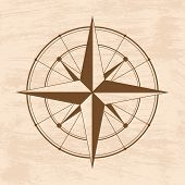 pic of wind instrument  - Brown wind rose isolated on grunge - JPG