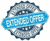 stock photo of extend  - extended offer blue round grunge stamp on white - JPG