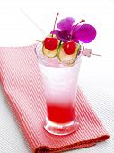foto of vodka  - Thai Red Cocktail with orchid - JPG