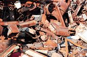 stock photo of scrap-iron  - old rusty scrap metal - JPG