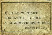 stock photo of tibetan  - A child without education is like a bird  - JPG