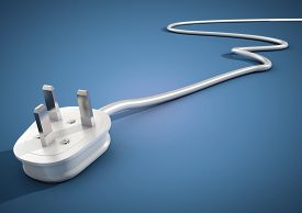 picture of save earth  - Electrical plug and cable lies unplugged isolates on blue background - JPG