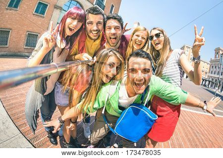 poster of Group of multicultural tourists friends having fun taking selfie and shouting out at old town tour -Travel lifestyle concept with happy people wandering around city landmarks - Vivid saturated filter