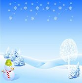 Lovely Snowman with White Tree