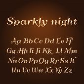 Vector Shining Luxury Beautiful Calligraphic Gold Alphabet Font Set Of Glittering Sparkles. Glitter poster