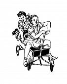 Retro Kids In Wagon - Retro Clip Art
