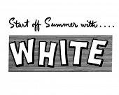 Постер, плакат: Начните лето с белой рекламный баннер ретро клипарт