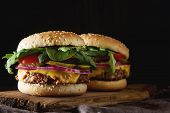 Fast Food. Vegetarian Burger With A Chop, Cucumber, Tomato And L poster