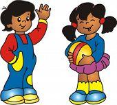 Постер, плакат: Американский африканских latino молодой мальчик и девочка