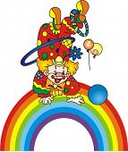 picture of circus clown  - Clown on a rainbow - JPG