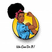We Can Do It. Pop Art Sexy Strong African Girl In A Circle On White Background. Classical American S poster