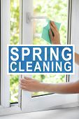 Spring cleaning concept. Female hands washing window at home poster