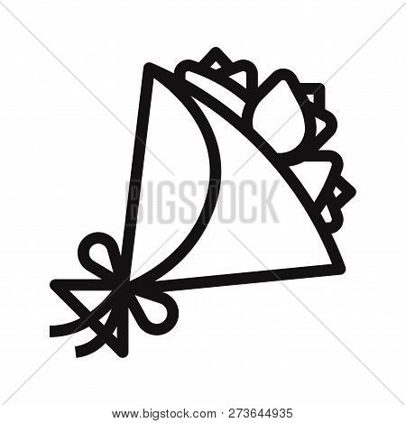 poster of Flowers Bouquet Icon Isolated On White Background. Flowers Bouquet Icon In Trendy Design Style. Flow