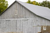 Weathered Rural Barn Background. Grey Weathered Wooden Barn And Barn Door In The Rural American Midw poster