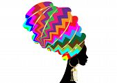 African Scarf, Portrait Afro Woman In A Colorful Striped Zig Zag Turban. Tribal Wrap Fashion, Ankara poster