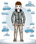Cute Little Boy Child Standing In Stylish Casual Clothes. Vector Pretty Nice Human Illustration. Fas poster