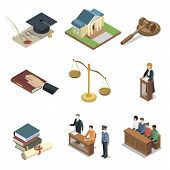 Public Justice Isometric 3d Elements. Scales Of Justice, Jury Trial, Oath Of Bible, Pronouncement Of poster