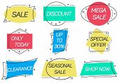 Only Today, Seasonal Sale, Shop Now, Special Offer, Discount, Mega Sale Stickers In Linear Style. Re poster