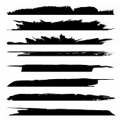 Collection of artistic grungy black paint hand made creative brush stroke set isolated on white back poster
