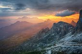 Dramatic Beautiful Dramatic Sunset In  A Mountain poster